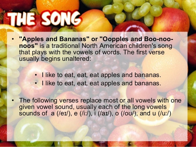 """• You can use other fruits instead of apples or bananas, for example: """"I like to eat eat eat Oranges and Kiwis"""""""