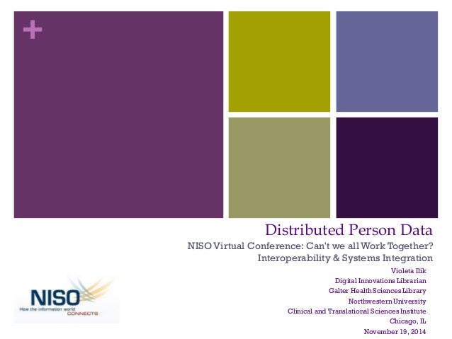 +  Distributed Person Data NISO Virtual Conference: Can't we all Work Together? Interoperability & Systems Integration  Vi...