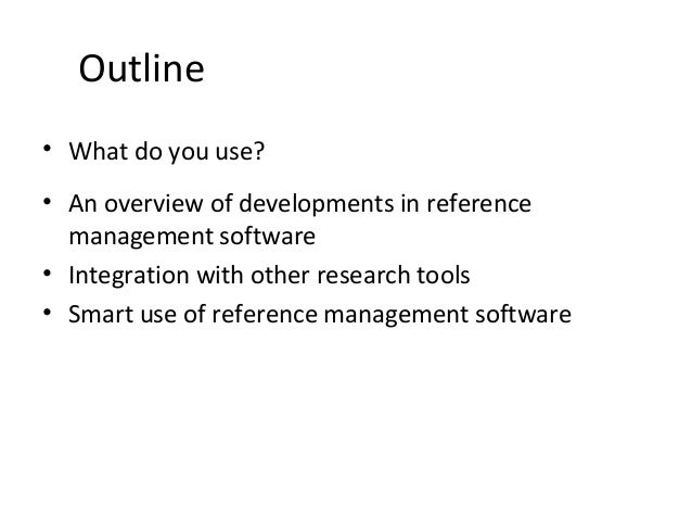 Reference management : trends and tricks
