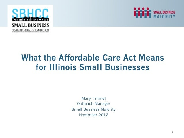 What the Affordable Care Act Means   for Illinois Small Businesses               Mary Timmel             Outreach Manager ...