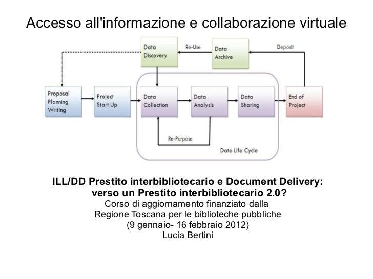 <ul>Accesso all'informazione e collaborazione virtuale </ul><ul><li>ILL/DD Prestito interbibliotecario e Document Delivery:
