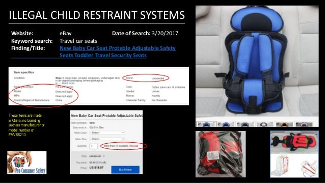 Illegal Child Restraint Systems Sold Online March 2017