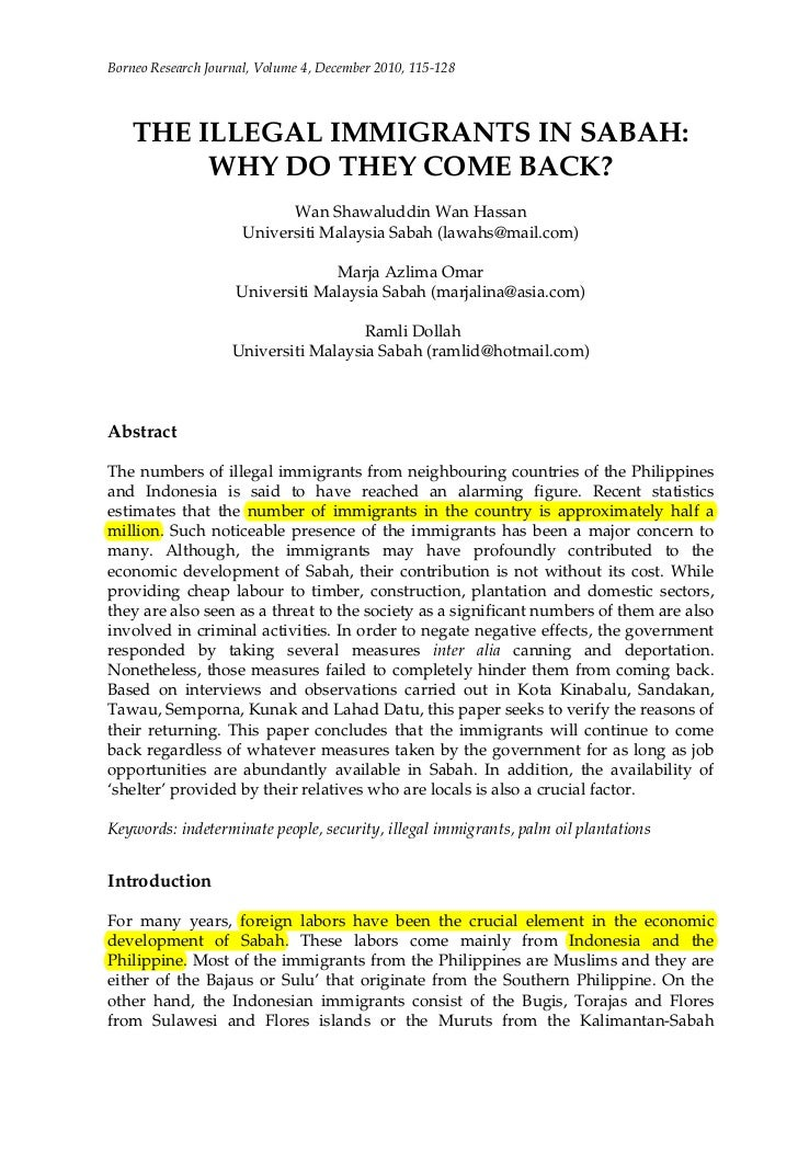 Borneo Research Journal, Volume 4, December 2010, 115-128    THE ILLEGAL IMMIGRANTS IN SABAH:         WHY DO THEY COME BAC...