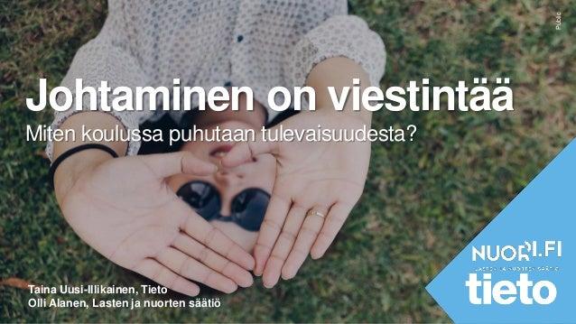 Public Johtaminen on viestintää Miten koulussa puhutaan tulevaisuudesta? Taina Uusi-Illikainen, Tieto Olli Alanen, Lasten ...