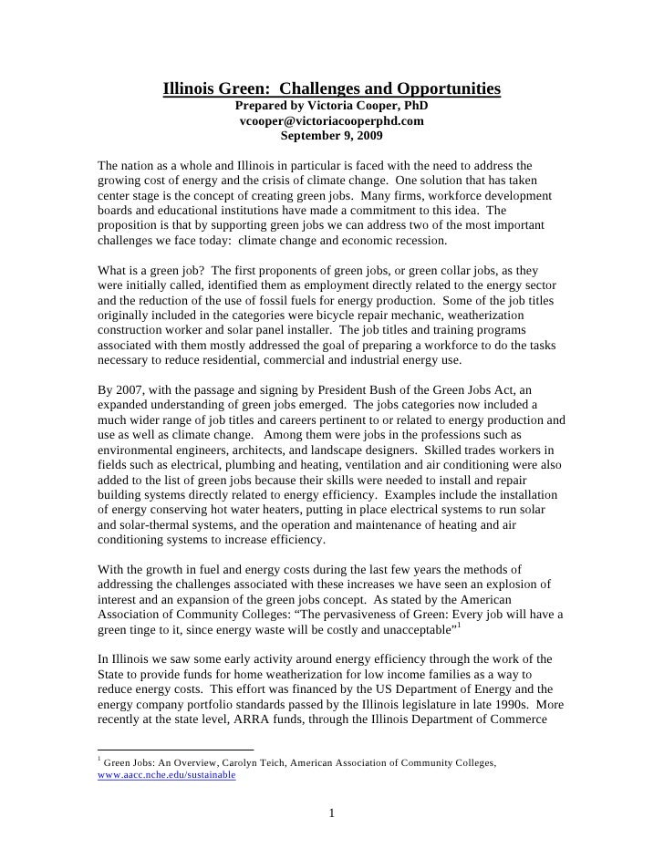Illinois Green: Challenges and Opportunities                             Prepared by Victoria Cooper, PhD                 ...
