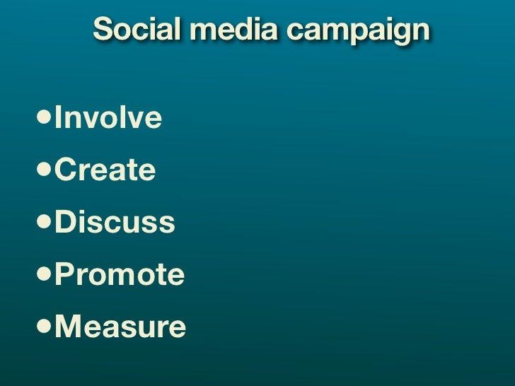 Social media campaign  •Involve •Create •Discuss •Promote •Measure