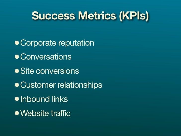 Success Metrics (KPIs)  •Corporate reputation •Conversations •Site conversions •Customer relationships •Inbound links •Web...