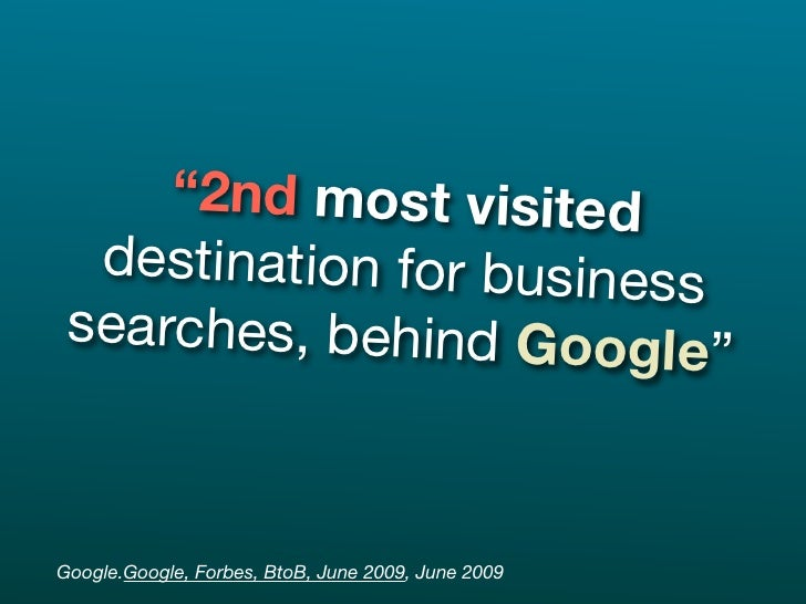"""""""2nd most visited   destination for business  searches, behind Googl                          e""""   Google.Google, Forbes, ..."""