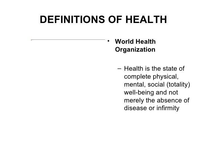 ILLNESS, WELLNESS AND HEALTH , SCOPE OF NURSING Slide 2