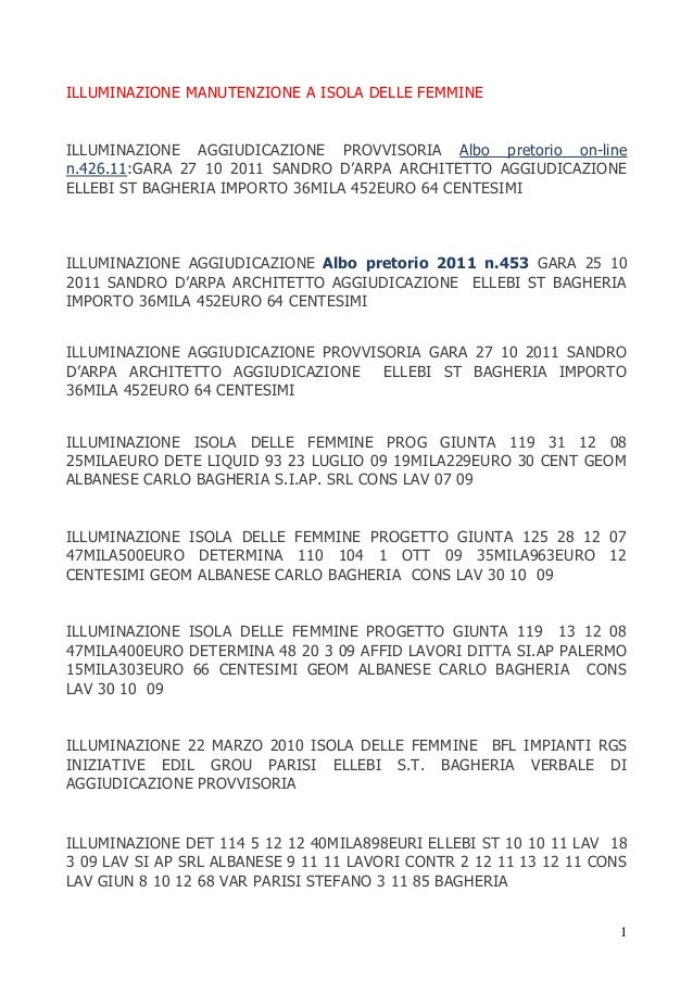 ILLUMINAZIONE MANUTENZIONE A ISOLA DELLE FEMMINE  ILLUMINAZIONE AGGIUDICAZIONE PROVVISORIA Albo pretorio on-line n.426.11:...