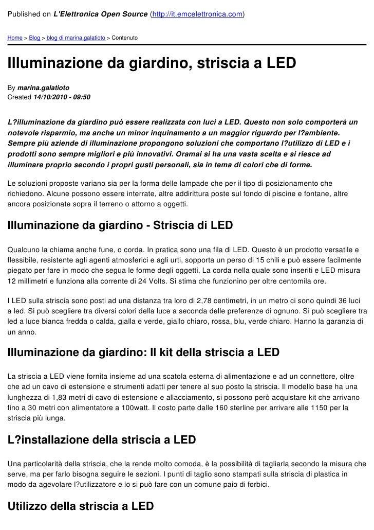 Illuminazione da giardino striscia a led 2010 10 14 for Illuminazione da giardino a led