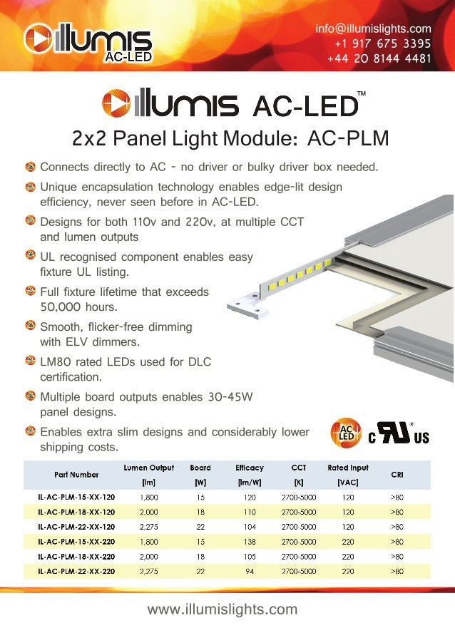 info@illumislights.com  +1 917 675 3395  +44 20 8144 4481  2x2 Panel Light Module: AC-PLM  Connects directly to AC - no dr...