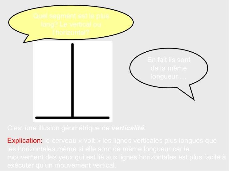 C'est une illusion géométrique de  verticalité . Explication:  le cerveau «voit» les lignes verticales plus longues que ...