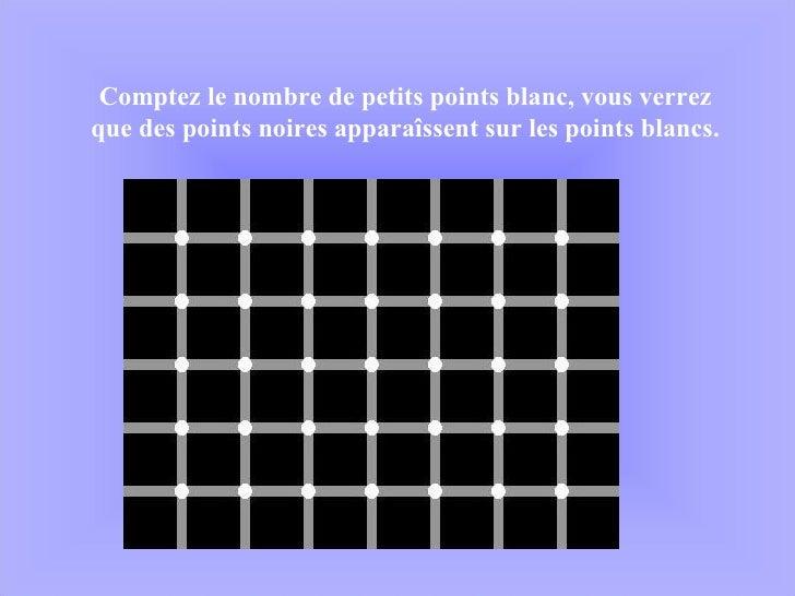 Comptez le nombre de petits points blanc, vous verrez que des points noires apparaîssent sur les points blancs.