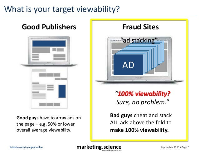 September 2016 / Page 6marketing.scienceconsulting group, inc. linkedin.com/in/augustinefou What is your target viewabilit...