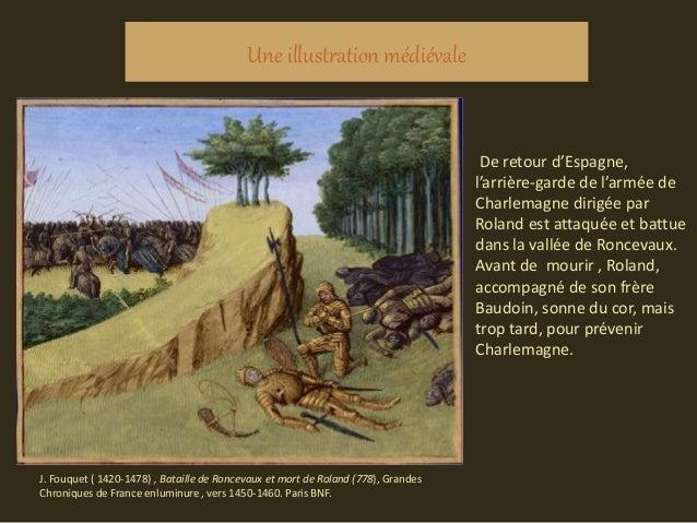 Une illustration médiévale De retour d'Espagne, l'arrière-garde de l'armée de Charlemagne dirigée par Roland est attaquée ...