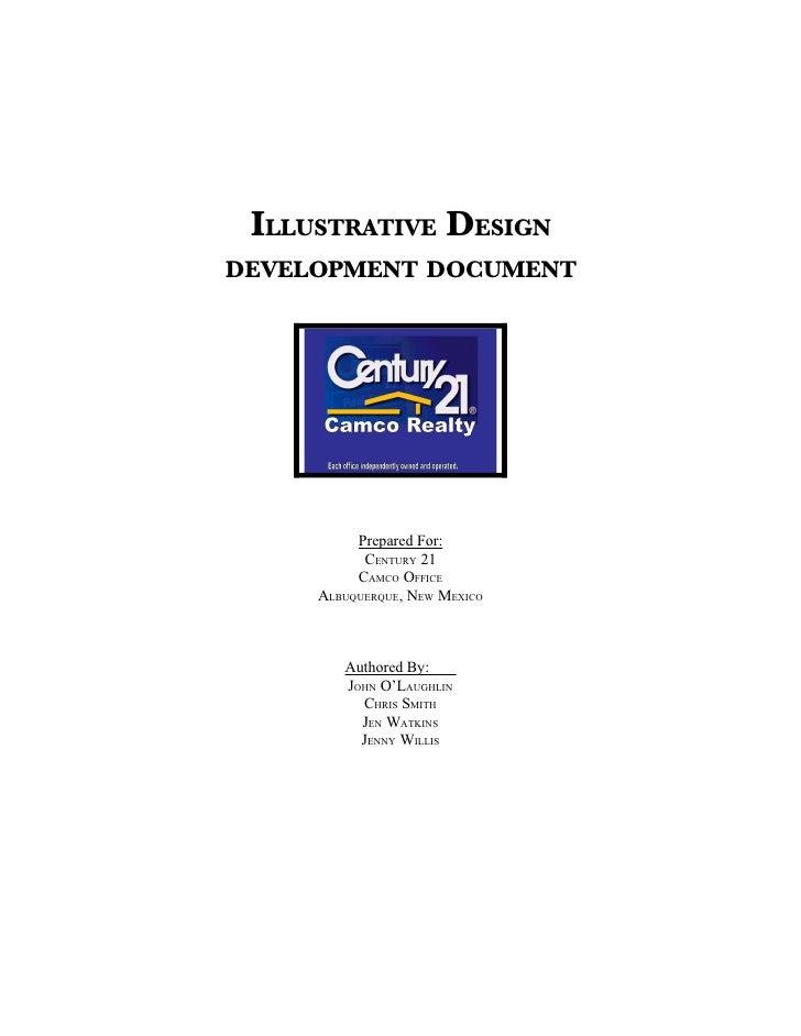 ILLUSTRATIVE DESIGN DEVELOPMENT DOCUMENT               Prepared For:            CENTURY 21           CAMCO OFFICE      ALB...