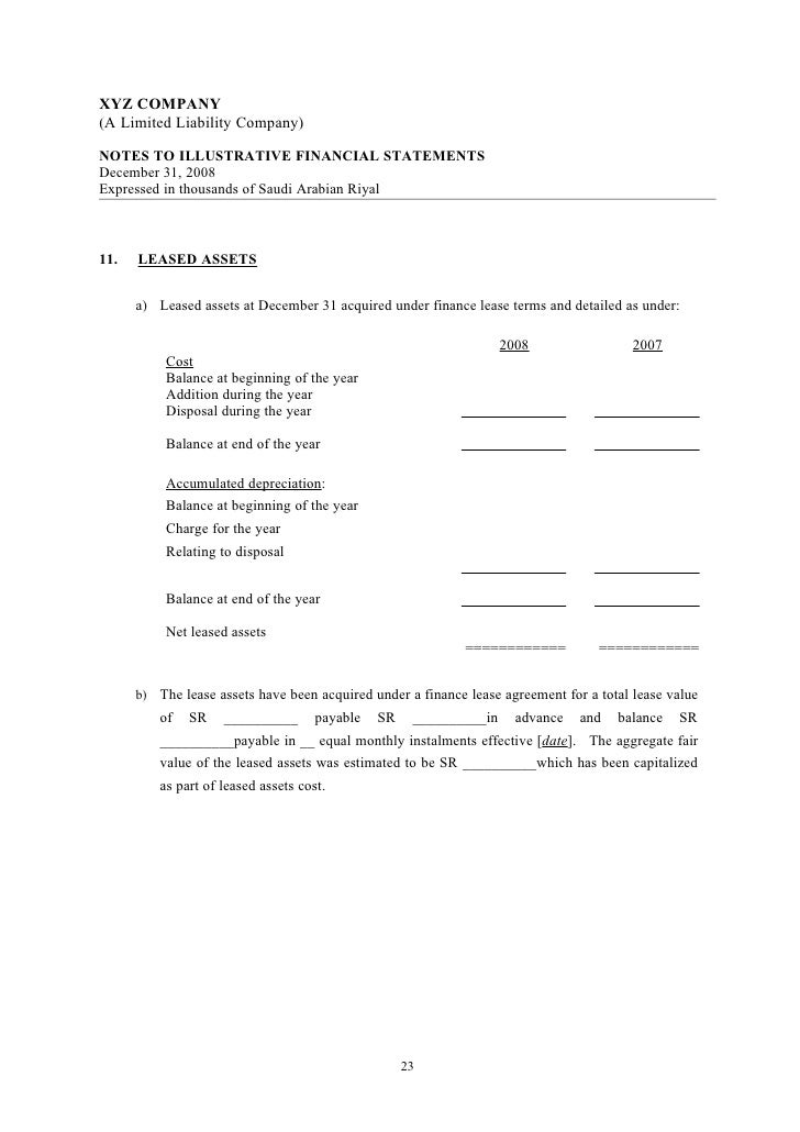 Illustrative socpa financial statements template limited liability – Asset and Liability Statement Template