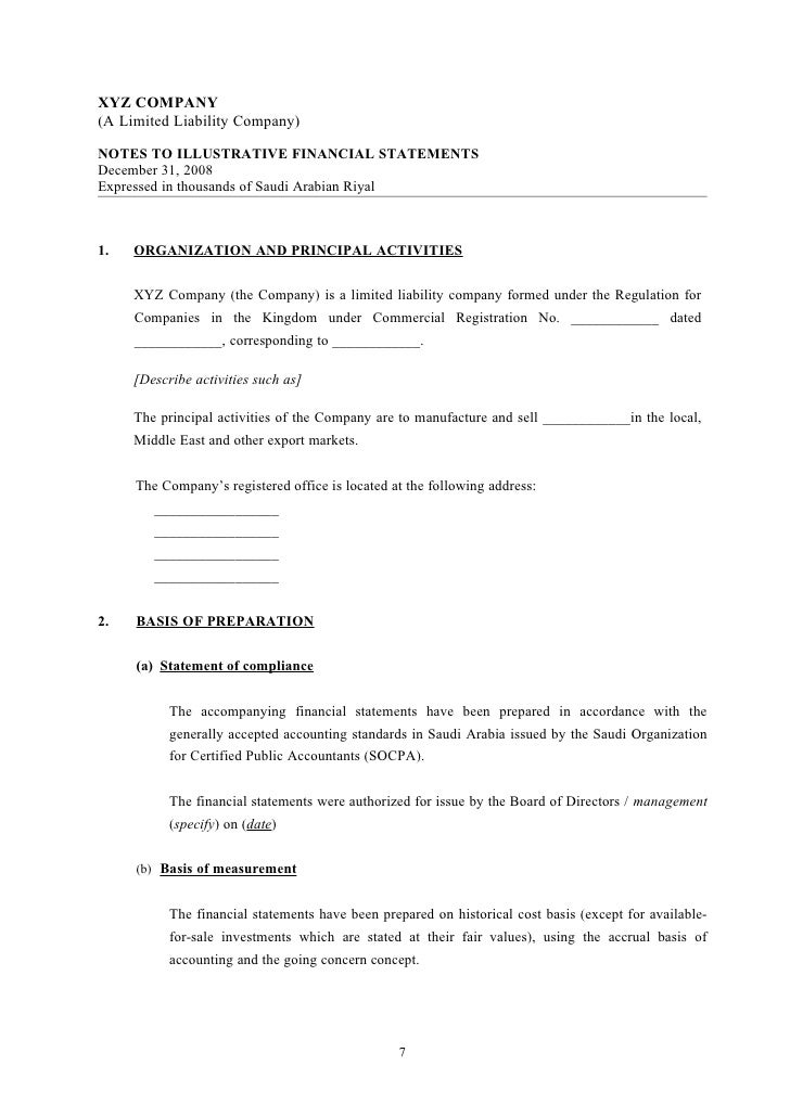illustrative socpa financial statements template limited liability