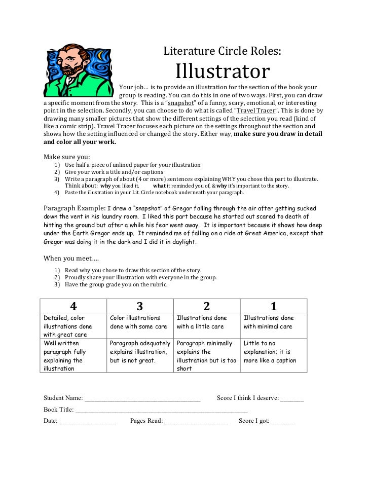 Literature	  Circle	  Roles:	                                                                                      Illustr...