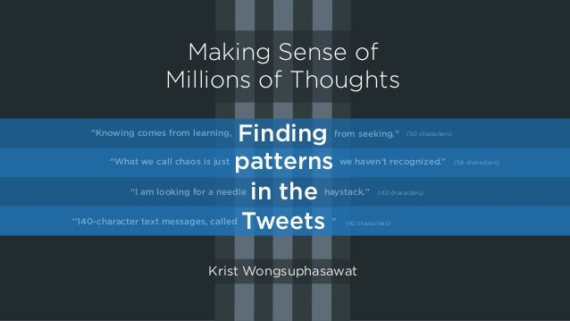 "Making Sense of Millions of Thoughts Finding patterns in the Tweets ""Knowing comes from learning, from seeking."" ""What we ..."