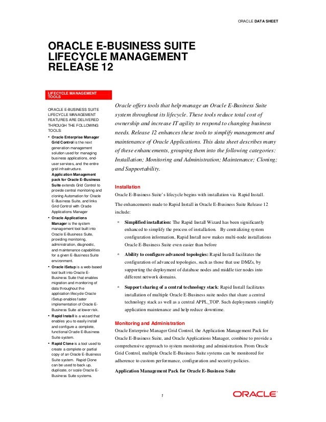 ORACLE DATA SHEETORACLE E-BUSINESS SUITELIFECYCLE MANAGEMENTRELEASE 12LIFECYCLE MANAGEMENTTOOLS                           ...