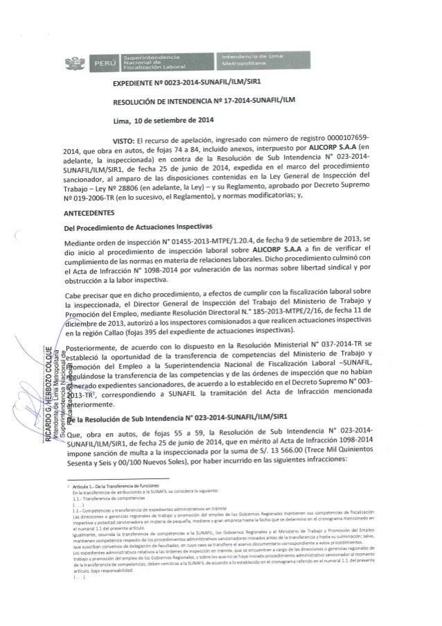 SUNAFIL - ILM - RI N° 017-2014 - Alicorp SA - El empleador se encuentran obligados a otorgar licencias sindicales