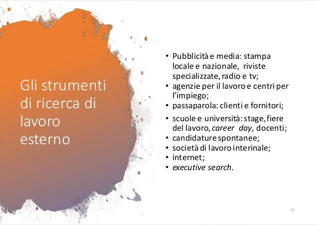 Gli strumenti di ricerca di lavoro esterno • Pubblicitàe media: stampa locale e nazionale, riviste specializzate,radio e t...