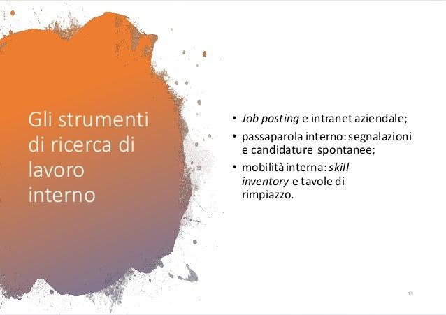 Gli strumenti di ricerca di lavoro interno • Job posting e intranet aziendale; • passaparola interno:segnalazioni e candid...
