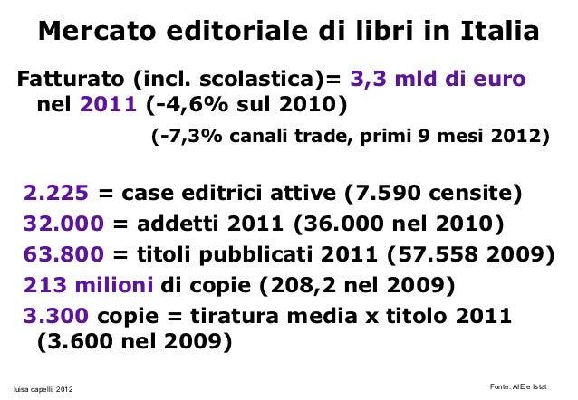 Mercato editoriale di libri in ItaliaFatturato (incl. scolastica)= 3,3 mld di euro nel 2011 (-4,6% sul 2010)              ...