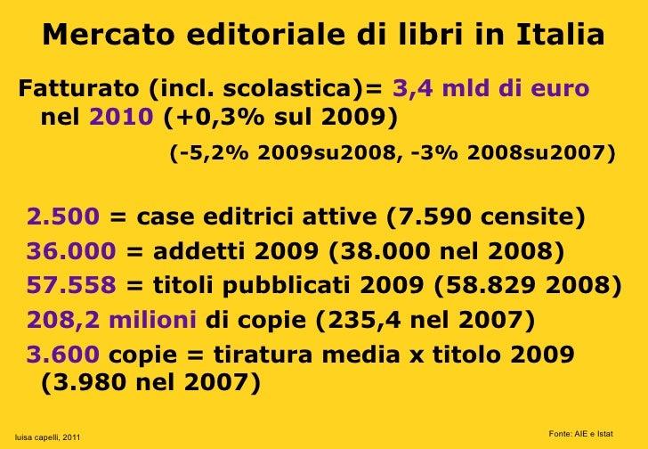 Mercato editoriale di libri in ItaliaFatturato (incl. scolastica)= 3,4 mld di euro nel 2010 (+0,3% sul 2009)              ...