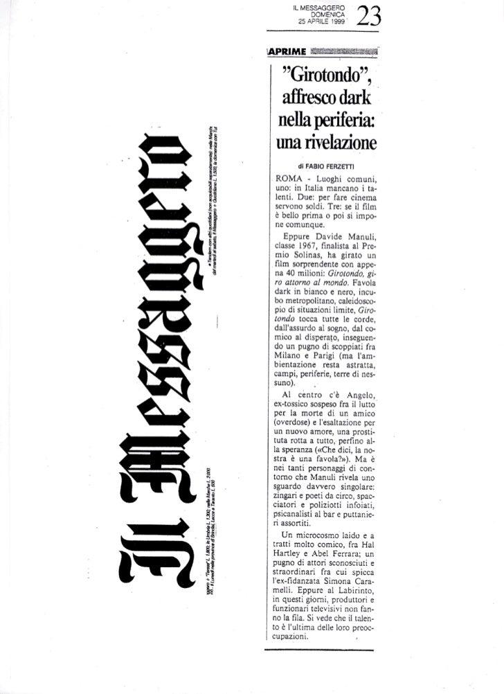 """""""GIROTONDO"""" (1999): Ferzetti e """"Il Messaggero"""""""