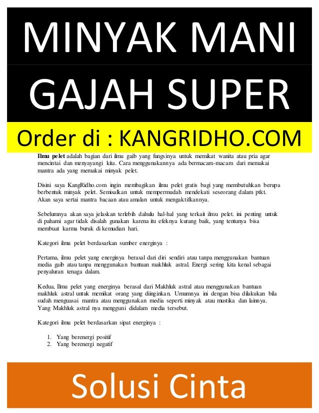 Asli Minyak Mani Gajah Pelet Super Kuliatas Masih Murni Khasiat Man