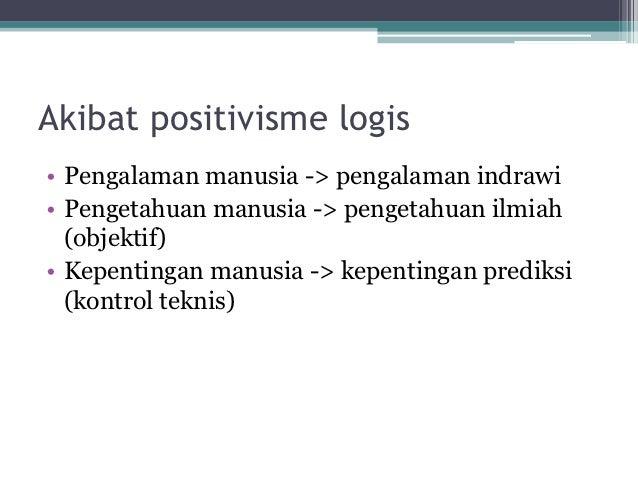Akibat positivisme logis• Pengalaman manusia -> pengalaman indrawi• Pengetahuan manusia -> pengetahuan ilmiah  (objektif)•...