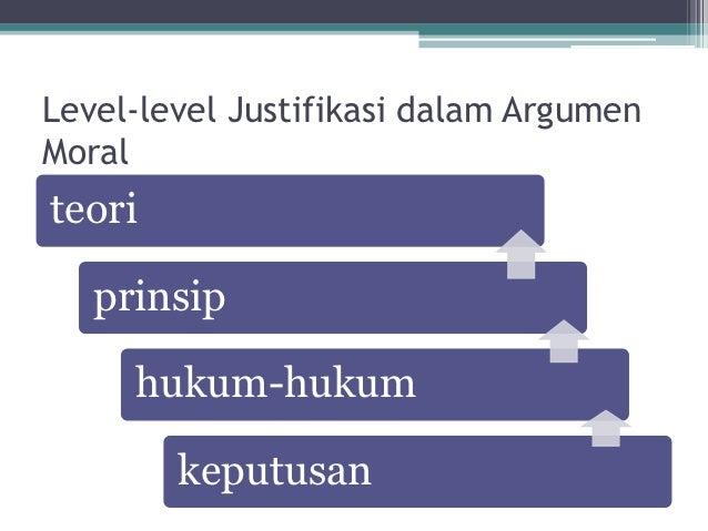 Level-level Justifikasi dalam ArgumenMoralteori   prinsip     hukum-hukum        keputusan