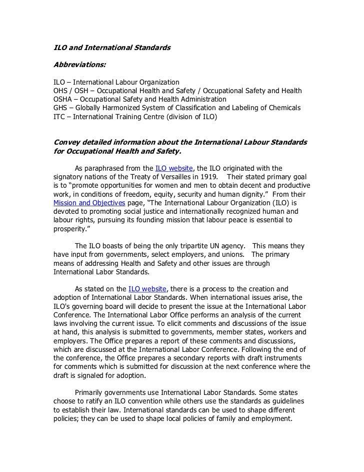ILO and International StandardsAbbreviations:ILO – International Labour OrganizationOHS / OSH – Occupational Health and Sa...