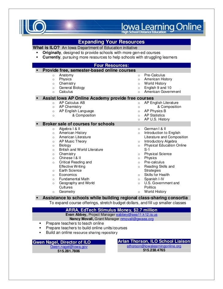 Expanding Your ResourcesWhat is ILO? An Iowa Department of Education initiative        Originally, designed to provide sc...