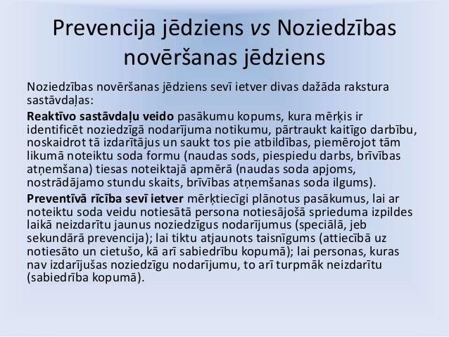 Prevencija jēdziens vs Noziedzības novēršanas jēdziens Noziedzības novēršanas jēdziens sevī ietver divas dažāda rakstura s...