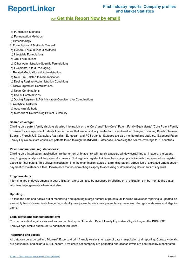 Iloprost   - Comprehensive patent search Slide 2