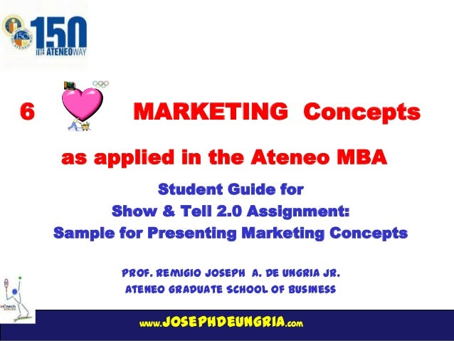 www.josephdeungria.com 6 MARKETING Concepts Student Guide for Show & Tell 2.0 Assignment: Sample for Presenting Marketing ...