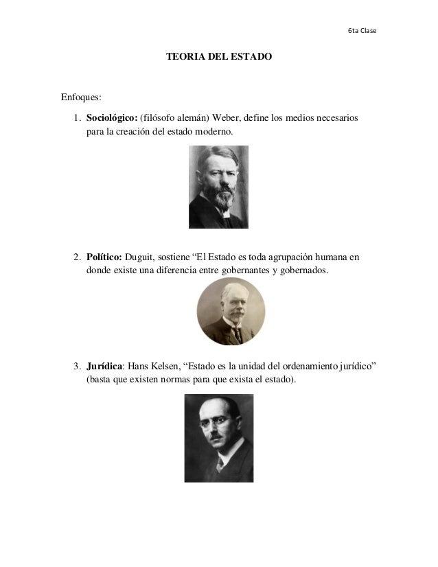 6ta Clase  TEORIA DEL ESTADO  Enfoques: 1. Sociológico: (filósofo alemán) Weber, define los medios necesarios para la crea...