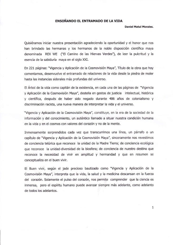ENSOÑANDO EL ENTRAMADO DE LA VIDA                                                                       Daniel Matul Moral...