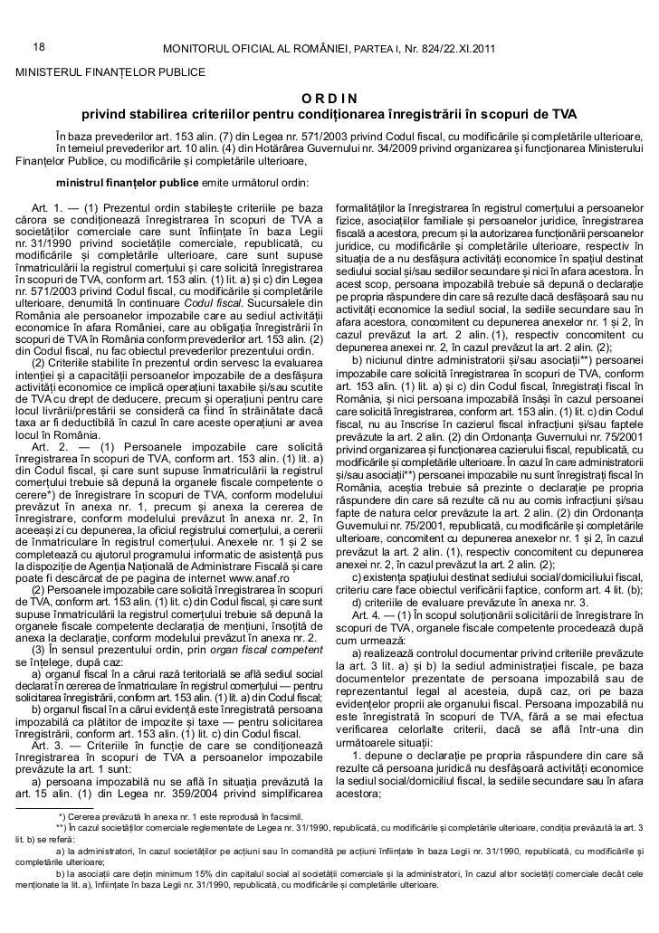 18                                 MONITORUL OFICIAL AL ROMÂNIEI, PARTEA I, Nr. 824/22.XI.2011MINISTERUL FINANȚELOR PUBLIC...