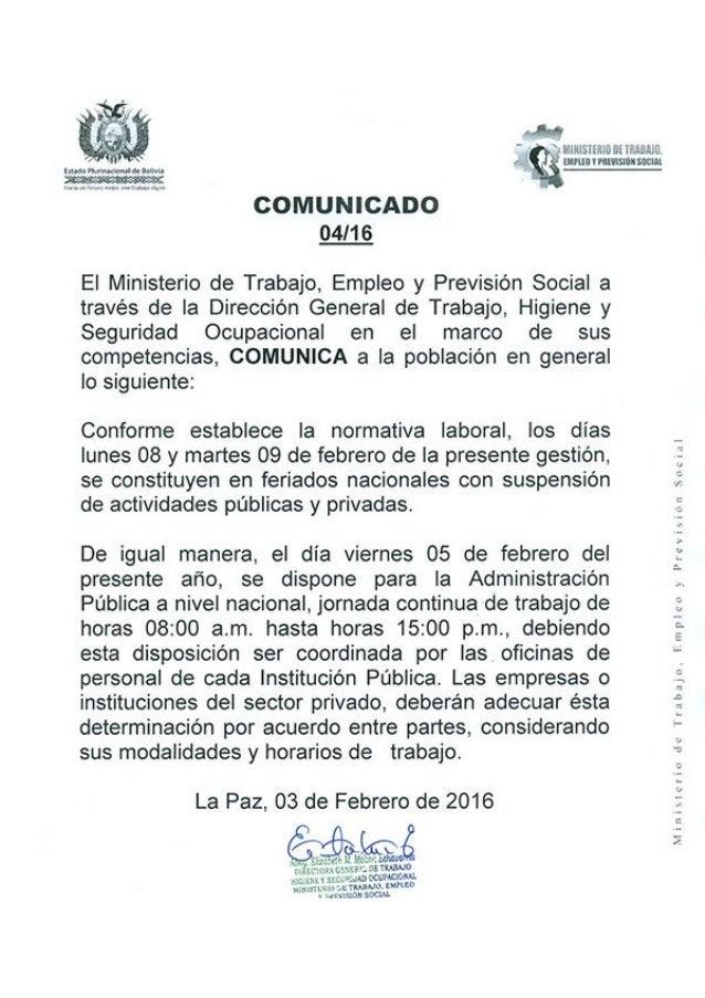 Comunicado del ministerio de trabajo sobre horario for Ministerio de trabajo