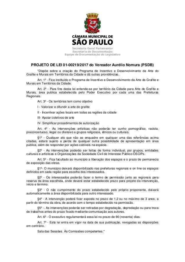 Secretaria Geral Parlamentar Secretaria de Documenta��o Equipe de Documenta��o do Legislativo PROJETO DE LEI 01-00219/2017...