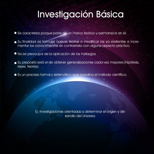 Investigación Básica Se caracteriza porque parte de un marco teórico y permanece en él. Su finalidad es formular nuevas te...