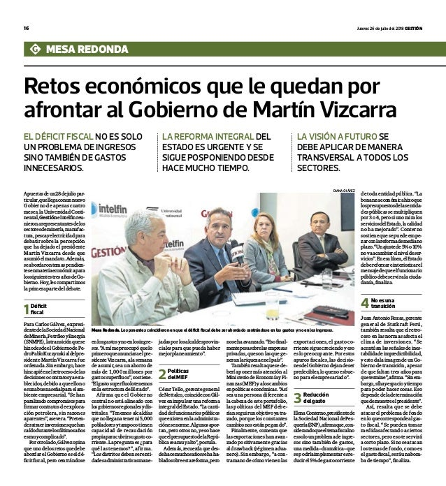 16 jueves 26 de julio del 2018 Gestión Retos económicos que le quedan por afrontar al Gobierno de Martín Vizcarra mesa red...