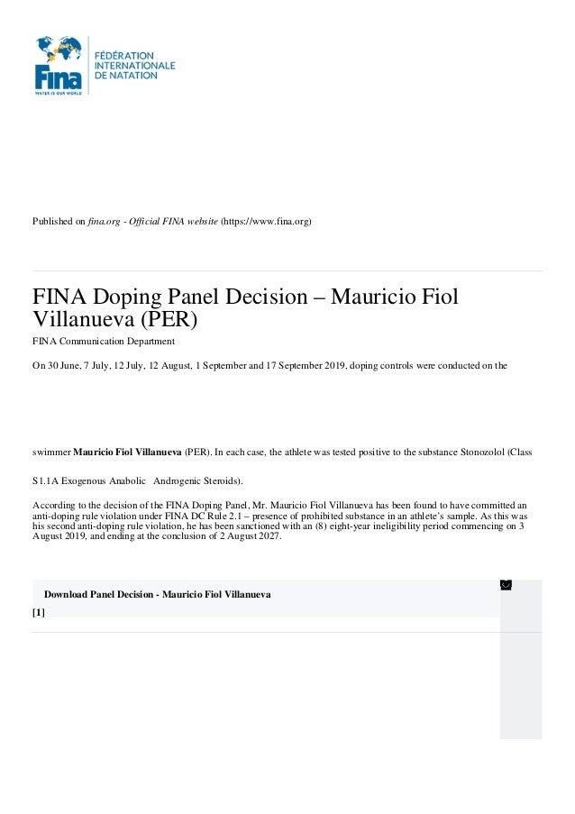Published on fina.org - Official FINA website (https://www.fina.org) FINA Doping Panel Decision – Mauricio Fiol Villanueva...