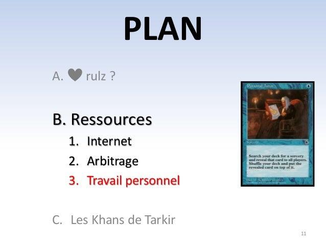 PLAN  11  A. rulz ?  B. Ressources  1. Internet  2. Arbitrage  3. Travail personnel  C. Les Khans de Tarkir