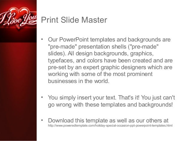 I Love You Powerpoint Template By Poweredtemplate